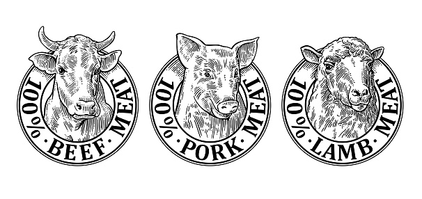 Cows, pig, sheep head. 100 percent beef pork lamb meat lettering