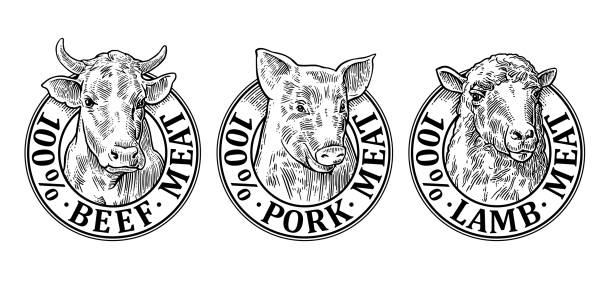 cows, pig, sheep head. 100 percent beef pork lamb meat lettering - cow stock illustrations, clip art, cartoons, & icons
