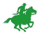 istock Coyboy Riding Horse 1003608746