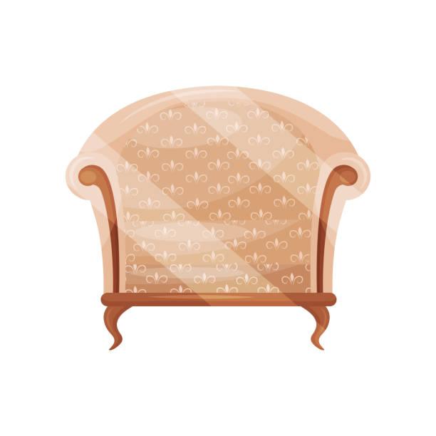 gemütliche sessel mit beige trim. holzstuhl. klassische möbel für wohnzimmer. objekt für wohngebäude. flache vektor icon - stuhllehnen stock-grafiken, -clipart, -cartoons und -symbole