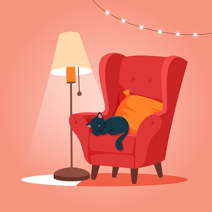Cozy armchair with cat sleeping. Cute vector illustration