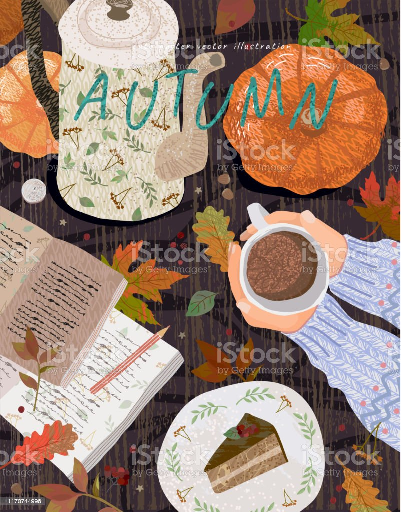 Cozy autumn background. Cute vector illustration of a table with objects: a cup of coffee, a notes with a pencil, a teapot, a pumpkin, a dessert and leaves. Top view of hands with cocoa. Cozy autumn background. Cute vector illustration of a table with objects: a cup of coffee, a notes with a pencil, a teapot, a pumpkin, a dessert and leaves. Top view of hands with cocoa. Autumn stock vector