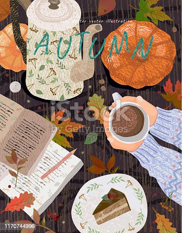 Cozy autumn background. Cute vector illustration of a table with objects: a cup of coffee, a notes with a pencil, a teapot, a pumpkin, a dessert and leaves. Top view of hands with cocoa.