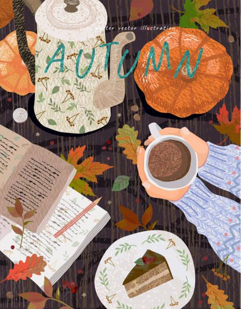 stockillustraties, clipart, cartoons en iconen met gezellige herfst achtergrond. leuke vector illustratie van een tafel met voorwerpen: een kopje koffie, een notitie met een potlood, een theepot, een pompoen, een dessert en bladeren. top zicht op handen met cacao. - tafel restaurant top