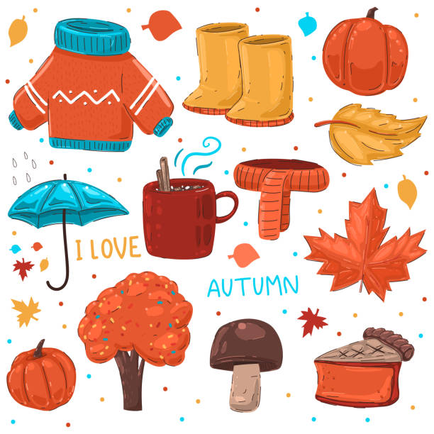 cozy autumn elements vector cartoon set isolated on a white background. - pumpkin pie stock illustrations