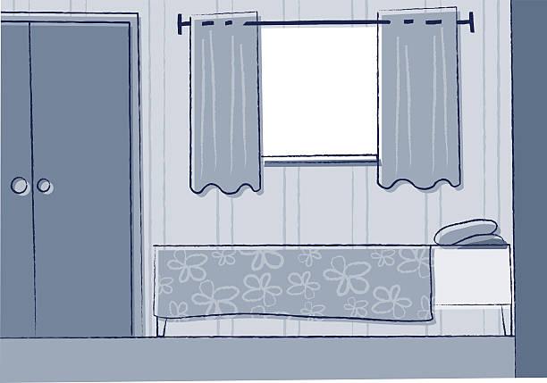 stockillustraties, clipart, cartoons en iconen met cozy bedroom - photography curtains