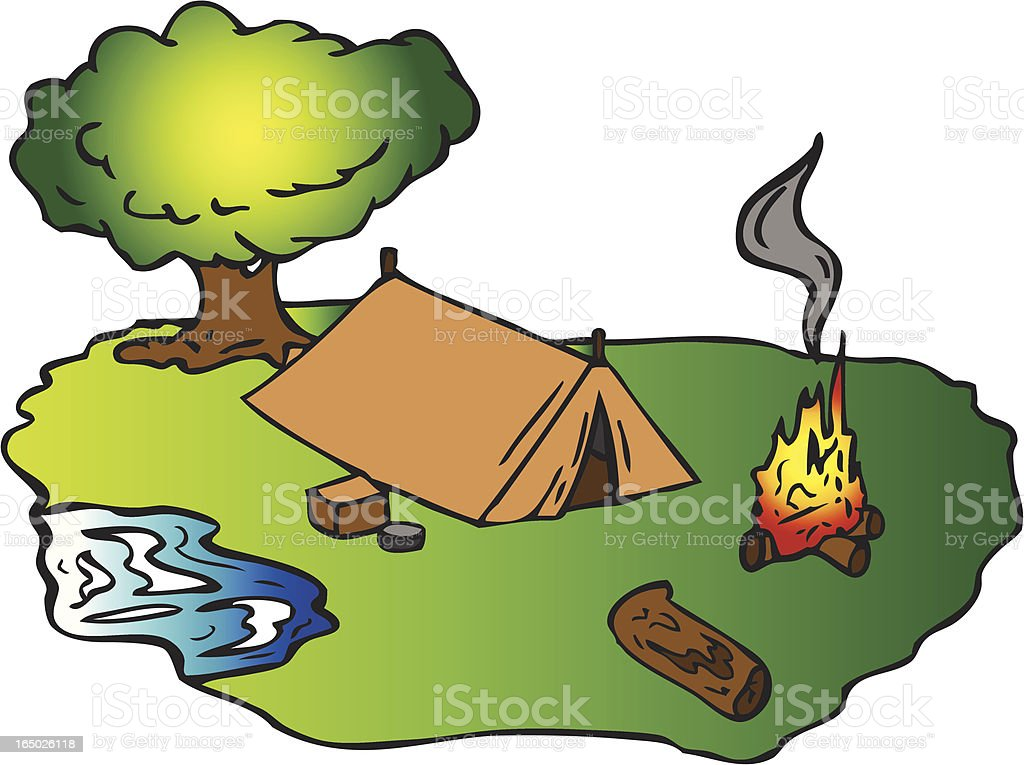Cozy Campground royalty-free cozy campground stock vector art & more images of burning