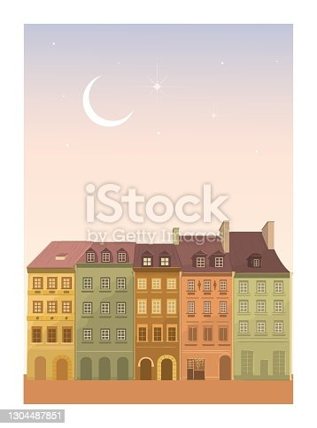 istock Cozy city, cozy cute hand drawn town. Postcard with houses. 1304487851