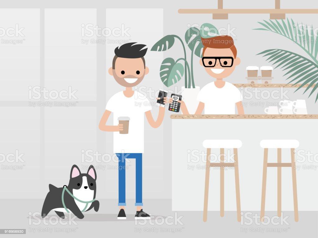 Acogedora cafetería. Estilo de vida moderno. Joven cliente compra una taza de café para ir con un pago por la tecnología del teléfono. Vida urbana hipster / plano ilustración vectorial editable, arte del clip. - ilustración de arte vectorial