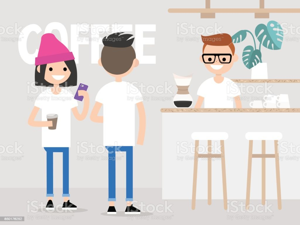 Acogedora cafetería. Estilo de vida moderno. Jóvenes clientes de una cola para el café. Pequeña cafetería en un barrio aburguesado. Vida urbana hipster / plano ilustración vectorial editable, arte del clip. - ilustración de arte vectorial