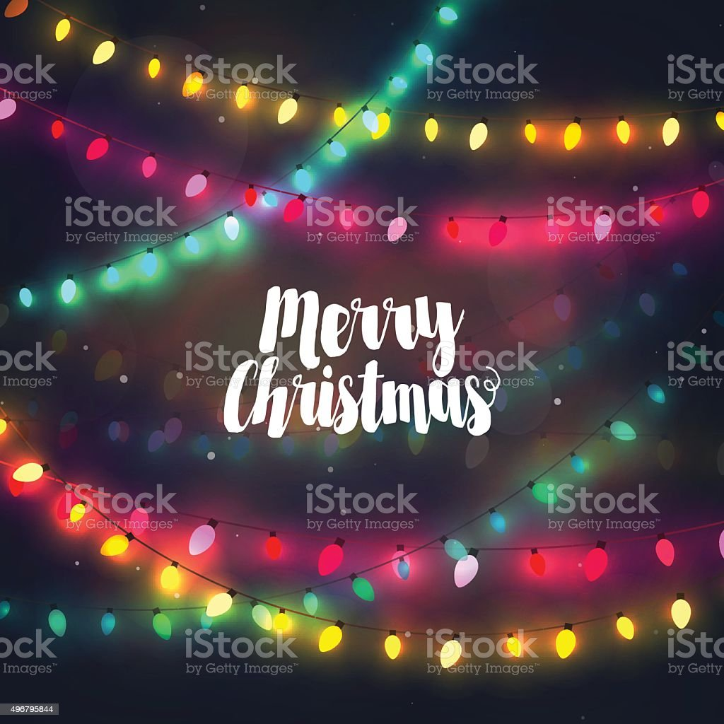 Cozy colorful Christmas lights garlands, greeting card with Merry Christmas vector art illustration