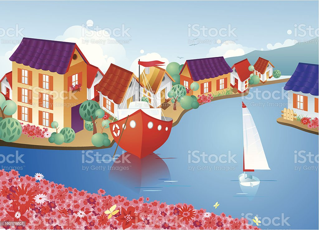 Cozy European town royalty-free cozy european town stock vector art & more images of backgrounds