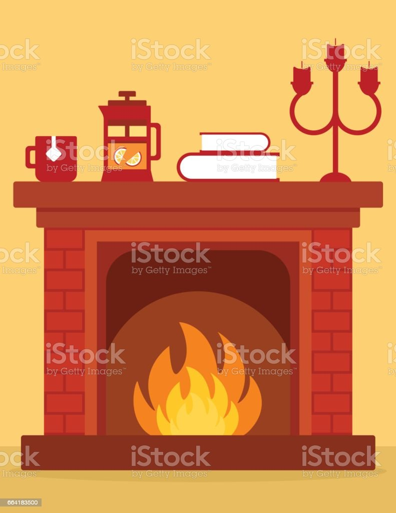 royalty free cozy fireplace clip art vector images illustrations rh istockphoto com Christmas Fireplace Clip Art fireplace fire clipart