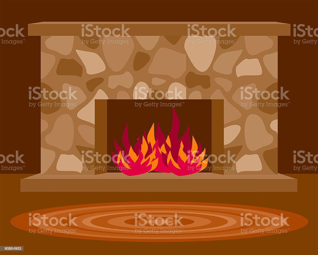 Cozy Fireplace royalty-free stock vector art