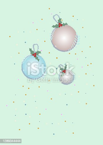 istock Cozy greeting Christmas card with decoration and confetti in the air with mistletoe 1289344444