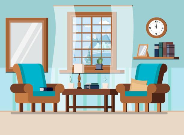 gemütliche sege wohnzimmer innenhintergrund szene mit fenster mit winterlandschaft im cartoon-flachstil. - wohnzimmer gemütlich stock-grafiken, -clipart, -cartoons und -symbole