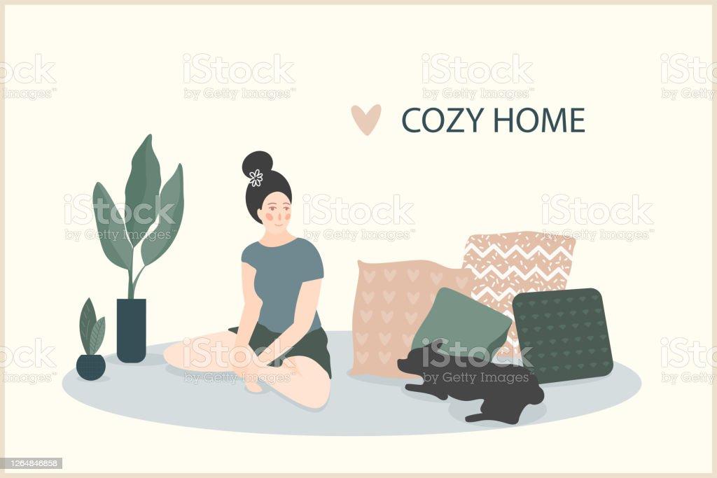 Cozy Home Theme Handmade Illustrationsimple Girl Room Interior For Use In Design For Home Decorative Prints Flower Shop Decor Wallpaper Bag Or Tshirt Print Art Workshop Etc Stock Illustration Download Image