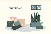 Cozy home theme handmade illustration.Simple room interior for use in design for home  decorative prints, flower shop decor, wallpaper, bag or t-shirt print, art workshop  etc.