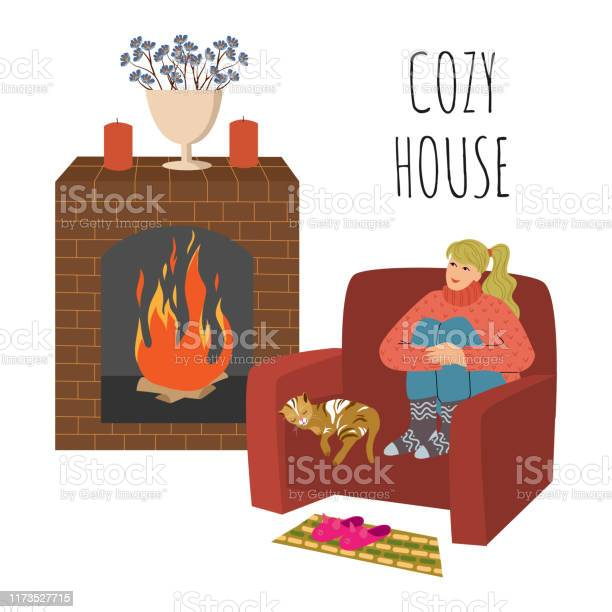 Cozy house the girl is sitting in a large comfortable chair legs by vector id1173527715?b=1&k=6&m=1173527715&s=612x612&h=0iqh1mdpyp1dh jgmzn7nfzvicqgw31owzvxfg jzhy=