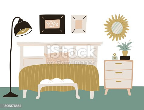 istock Cozy interior bedroom with homeplants in scandinavian style. White wooden bed with chest of drawers , mirror and flor lamp. Cartoon flat hand drawn vector illustration. 1306376554