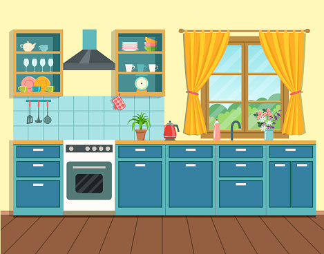 Cozy interior kitchen in rustic style with window. Vector flat style  illustration