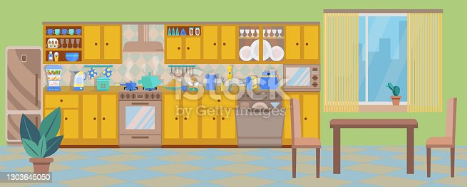 istock Cozy interior of a long kitchen with a dining area and a window. Kitchen is equipped with a stove, a microwave, a table with chairs, a refrigerator, a dishwasher, a steamer. Vector. Flat style. 1303645050