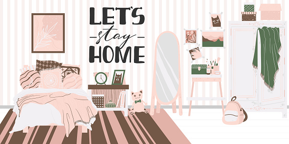Cozy interior of bedroom in Scandinavian cartoon style. Concept with text let's stay home. Design of a cozy room with bed, houseplant, shelf, mirror and decor in flat style