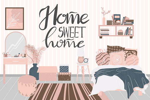 Cozy interior of bedroom in Scandinavian cartoon style. Concept with text home sweet home. Design of a cozy room with bed, houseplant, shelf, mirror and decor in flat style