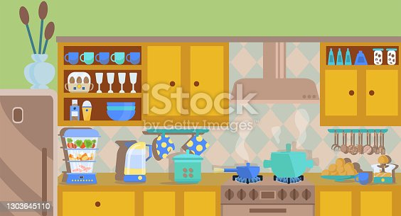 istock Cozy interior of the kitchen with kitchen equipment,  an included gas stove. steamer, kettle, juicer, kitchen utensils, plates, glasses, pots, a dish with oranges. Vector illustration in a flat style. 1303645110