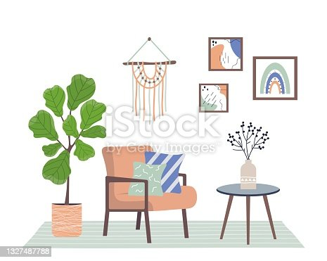 Cozy interior with armchair, house plant and decor. Retro style interior. Trendy interior in scandinavian or boho style. Flat vector illustration on white isolated background.