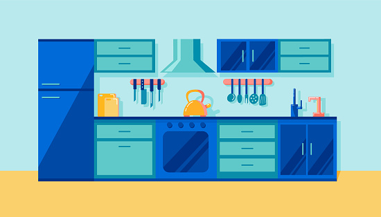 Cozy kitchen interior with refrigerator, stove, oven and kettle. Cooking theme. Dining blue furniture. Modern trendy design. Flat vector illustration
