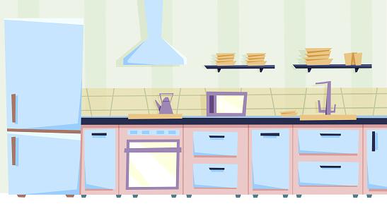 cozy kitchen interior.illustration in cartoon style.