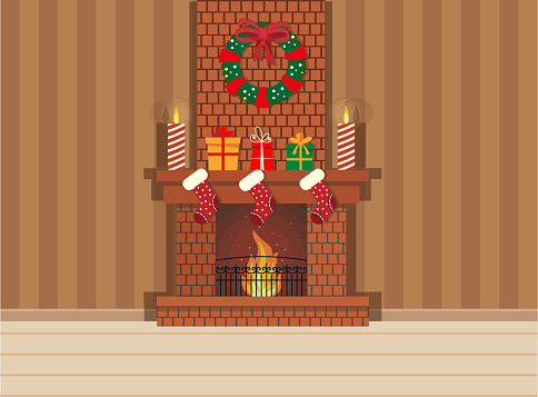 Cozy living interior Christmas with red sofa, gifts, and tree. Vector flat style illustration.