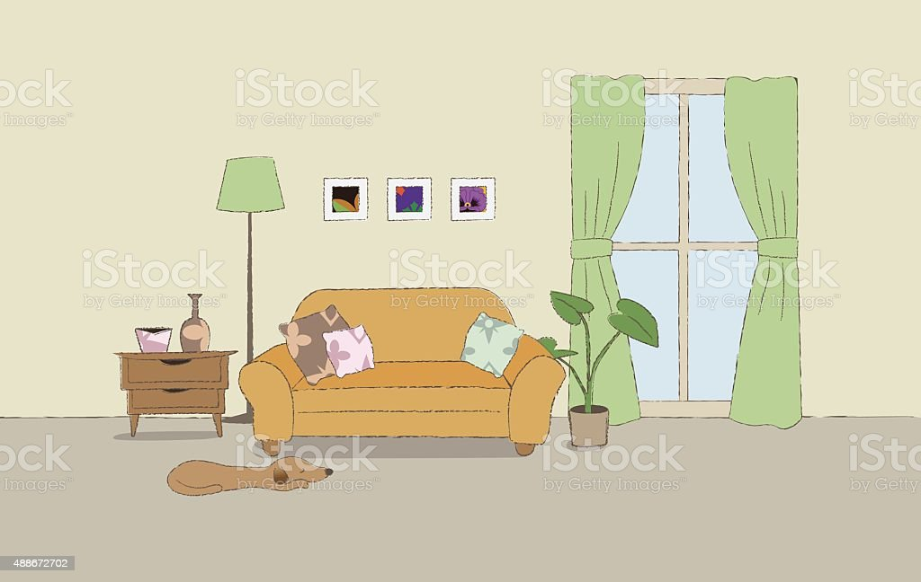 Cozy living room illustration vector art illustration