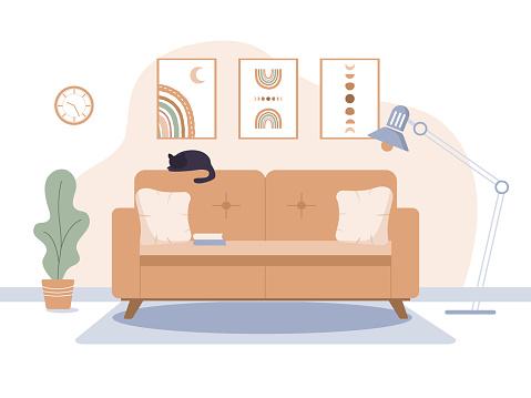 Cozy living room in trendy scandinavian style.