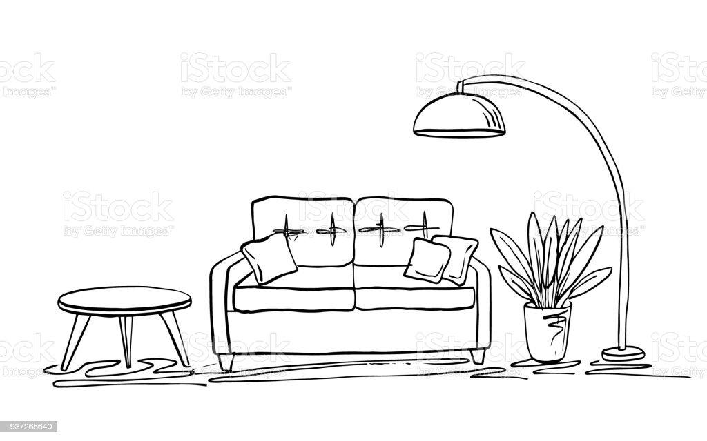 Entzuckend Gemütliches Wohnzimmer Interieur Skizze: Sofa, Kissen, Kleiner Tisch,  Pflanzen In Einem Topf