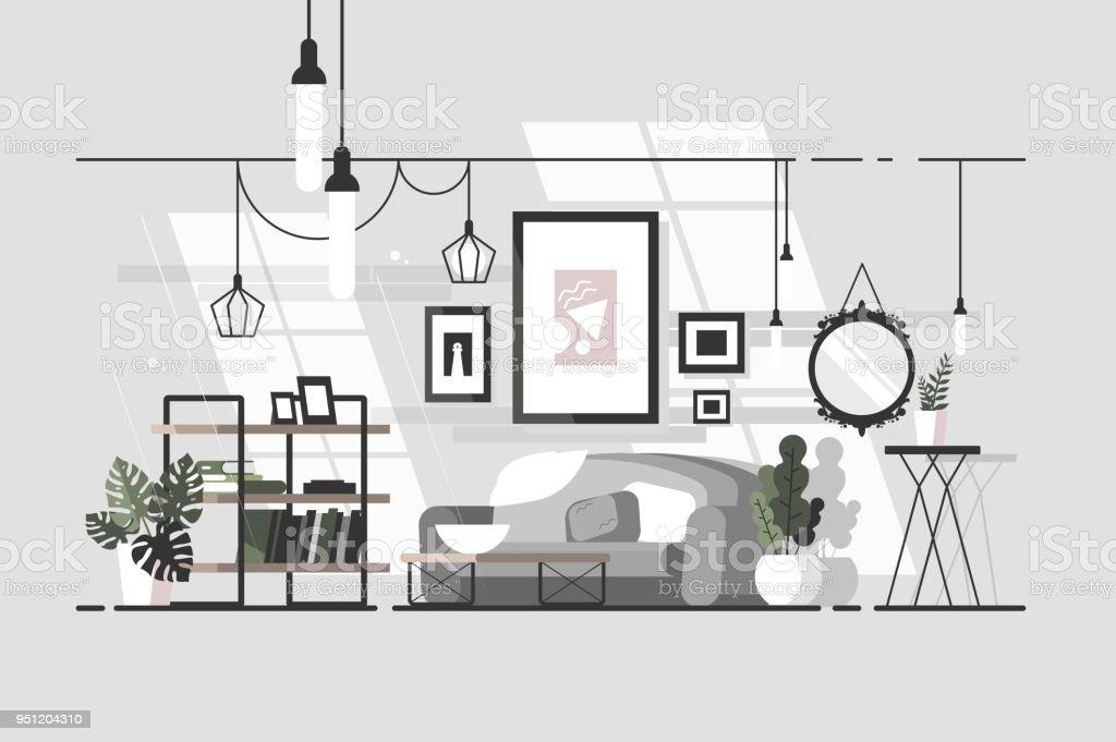 Cozy living room vector art illustration