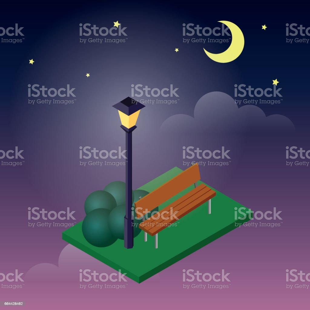 Cozy park sitting place. Moonligt night in park. Natural ecological landscape isometric icon. Vector isometry