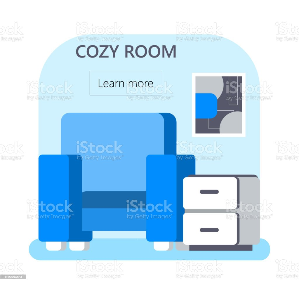 Cozy Room Concept Vector For Web App Apartment Hostel Booking Illustration In Flat Style Chair And Bedside Table In Dorm Or Hotel Rooms Stock Illustration Download Image Now Istock