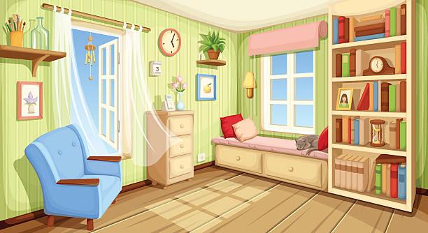 stockillustraties, clipart, cartoons en iconen met cozy room interior. vector illustration. - photography curtains