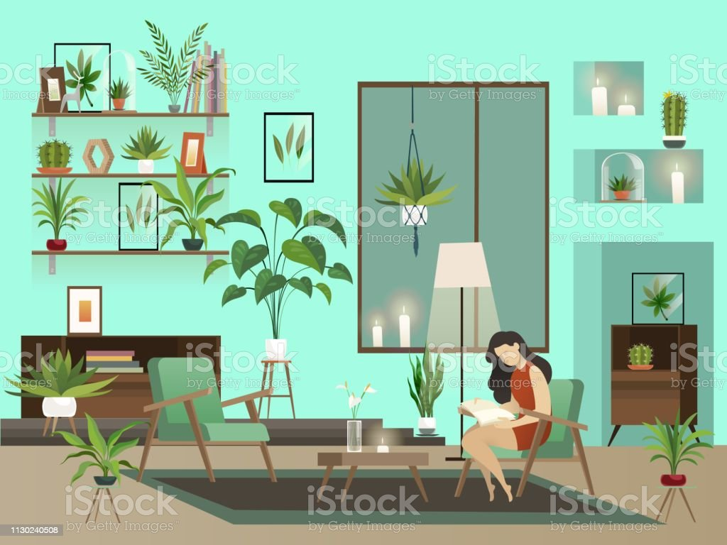 Cozy room. Vector night living room with lone reading woman and urban...