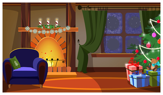 Cozy room with fireplace and Christmas tree vector illustration