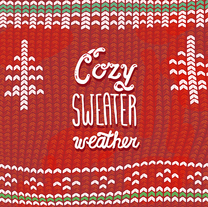 Cozy Sweater weather phrase greeting card design banner with hand lettered text