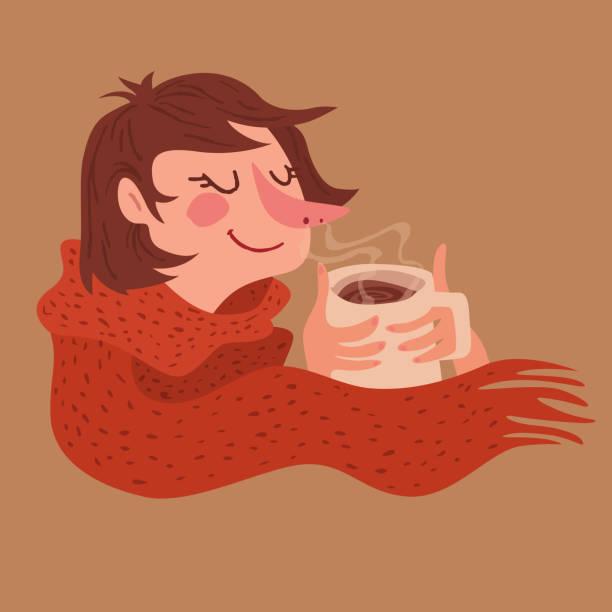 bildbanksillustrationer, clip art samt tecknat material och ikoner med mysiga varma kaffe flicka - food woman to smell