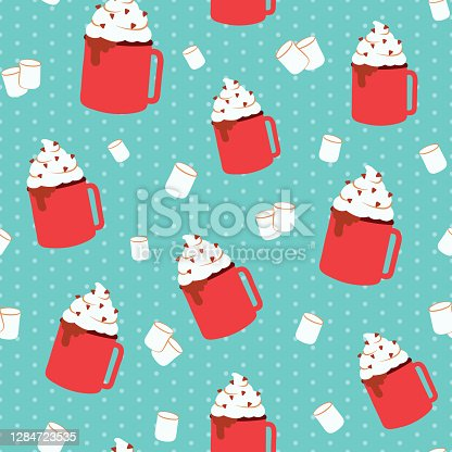 istock Cozy winter hot chocolate and marshmallow blue pattern. Cute hygge holiday illustration design for winter and christmas. Hot cocoa and marshmallows on aqua blue polka dot background. 1284723535