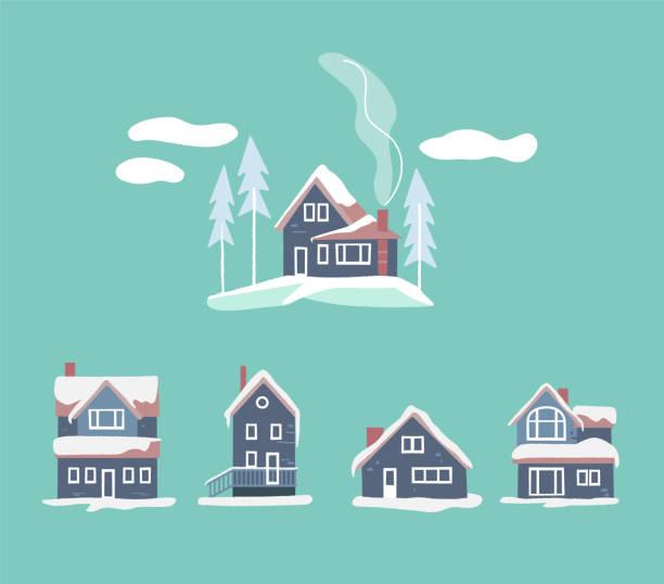 stockillustraties, clipart, cartoons en iconen met gezellige winter huizen set. besneeuwde vector landschap - christmas cabin