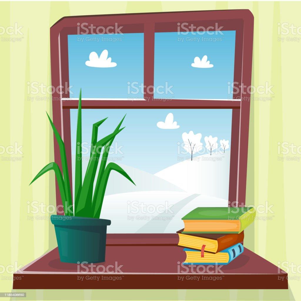 Arbre En Pot Hiver fenêtre dhiver confortable avec la belle vue avec des arbres