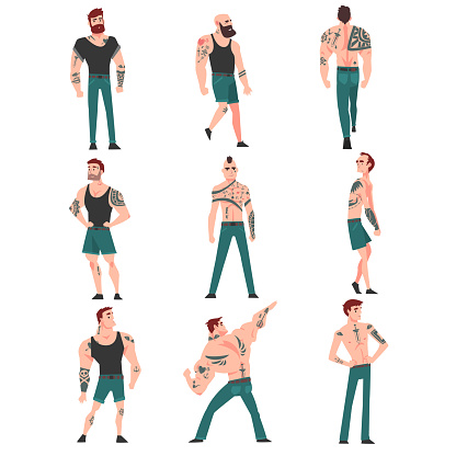 Cpllection of Men with Lot of Tattoos Vector Illustration