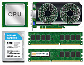 cpu graphic card harddisk ram on white background