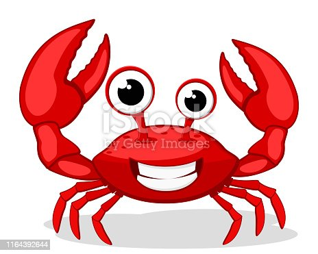 Crab character smiling with big claws on a white background.